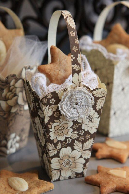 favor boxes with lace and star shaped cookies are lovely and you can DIY them, as many as you want