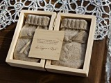 mittens in boxes are very cozy and very cool Christmas or just winter wedding favors