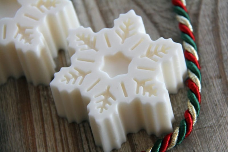snowflake shaped white chocolate is amazing for winter or Christmas wedding favors