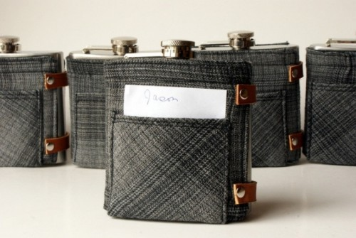 flasks in covers, with personalized cards are timeless groomsmen gifts and they will please everyone