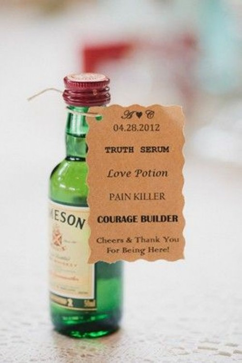 mini alcohol bottles with tags are always a good idea of a gift, groomsmen will enjoy them