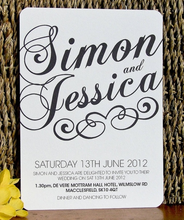 picture of black and white wedding invitations,