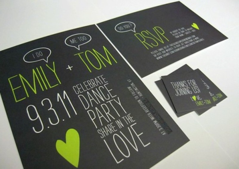 picture of black and white wedding invitations