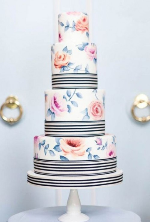 a pastel floral wedding cake with black and white stripes is a stylish idea inspired by vintage