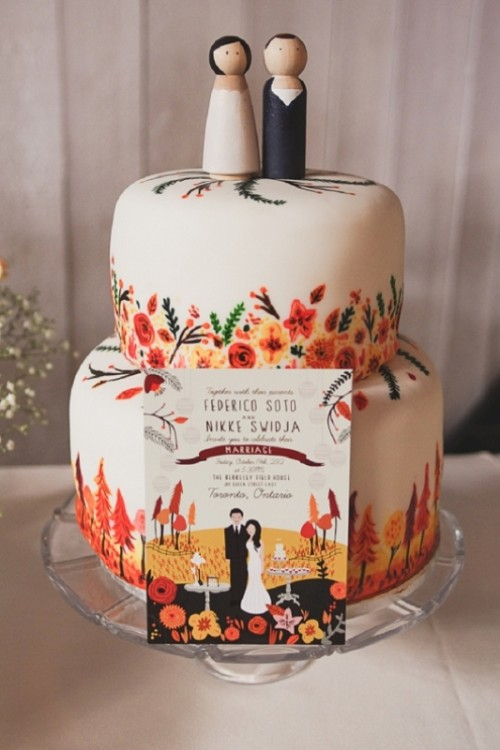 30 Creative And Lovely Hand Painted Wedding Cakes