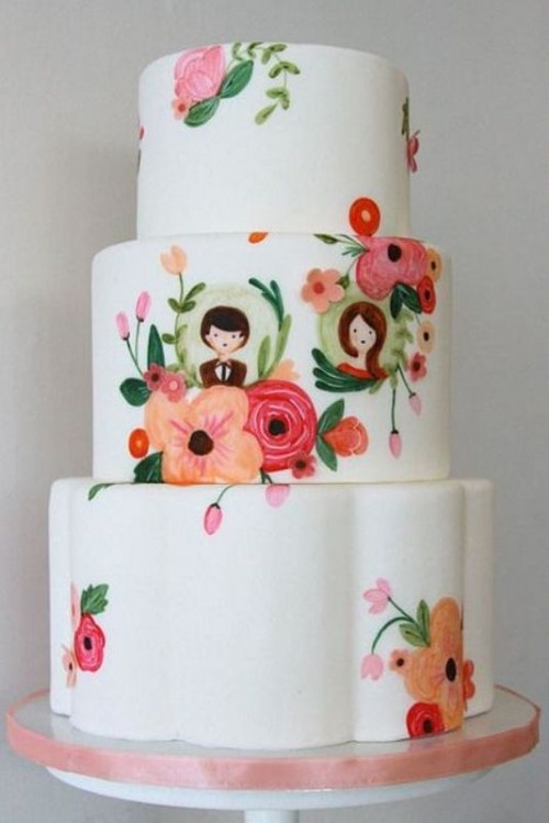Creative And Lovely Hand Painted Wedding Cakes