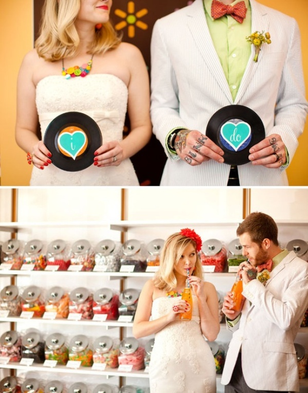 fun retro inspired looks with a neutral suit, a green shirt and a red bow tie, a strapless lace fitting wedding dress