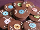 chocolate vinyl-inspired cookies plus colorful glaze on top will be a nice wedidng favor idea or fun desserts