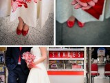 a short high low strapless wedding dress and red shoes are amazing for creating a retro bridal look