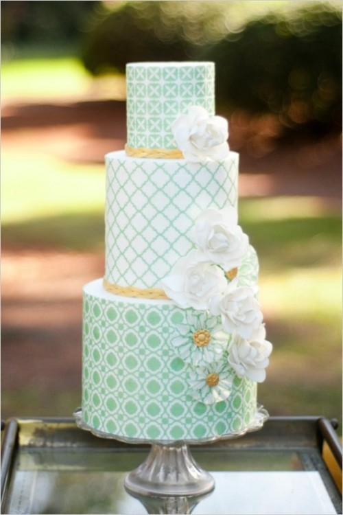 a mint green wedding cake with various patterns and sugar flowers is a perfect idea for a retro wedding
