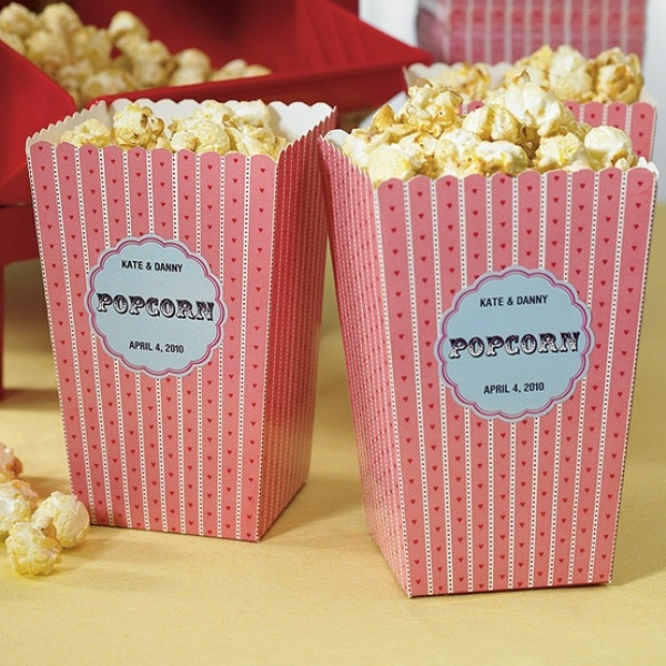 cardboard boxes with popcorn are nice favors, or you can create a popcorn wedding station