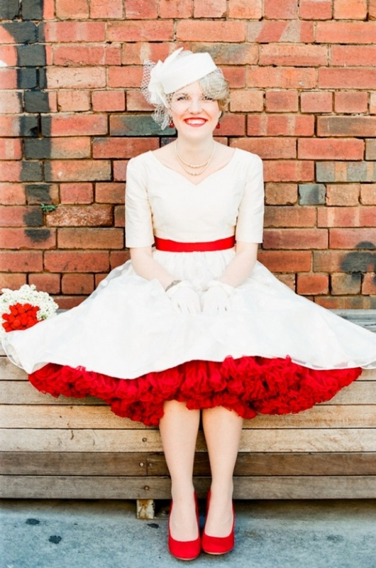 Picture Of A Retro Midi Wedding Dress With A Red Sash And