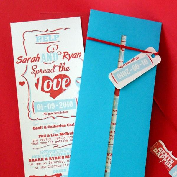 bright blue, red and white wedding invitations are perfect for invitign to a retro wedding