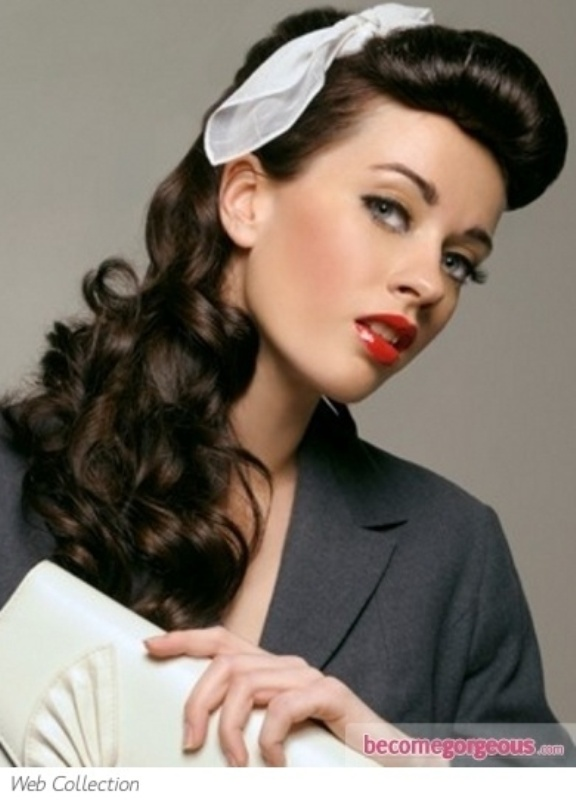 Picture Of A Retro Inspired Hairstyle With A Sleek Bump And Long