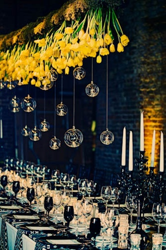 a cool bold hanging decorations for wedding reception