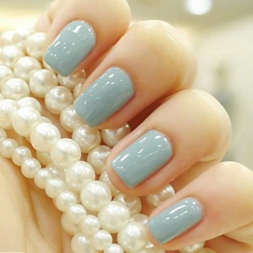 an ice blue wedding manicure will be a nice idea for a bride or bridesmaid in winter