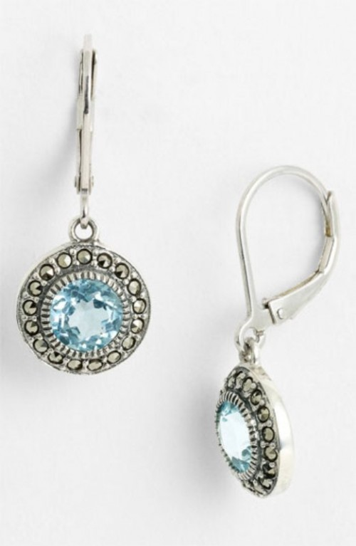sivler earrings with ice blue rhinestones are beautiful accessories or jewelry for a bride or bridesmaid