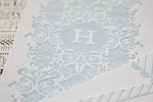 an ice blue and white printed napkin is a refined idea for your winter wedding tablescape
