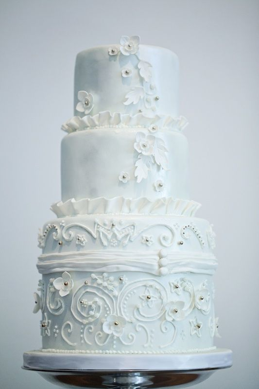a vintage inspired ice blue and white embellished and patterned wedding cake is a lovely and beautiful idea