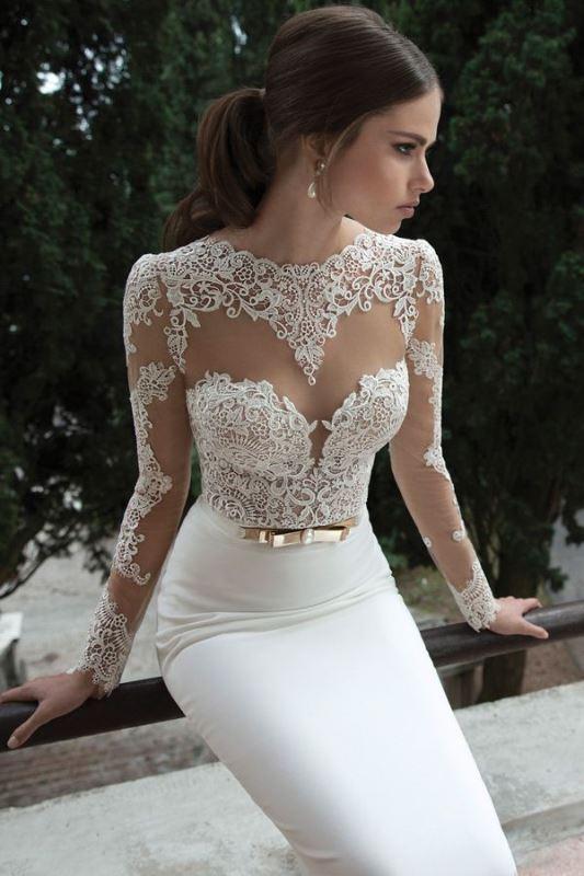Picture Of gorgeous illusion necklines wedding dresses  9