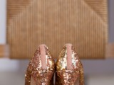 rose gold sequin wedding shoes are a lovely idea for a bride or bridesmaids and they will add a soft touch of color to the look