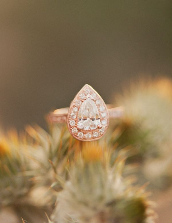 a sophisticated rose gold drop shaped ring with diamonds is a fantastic piece to wear on your wedding day