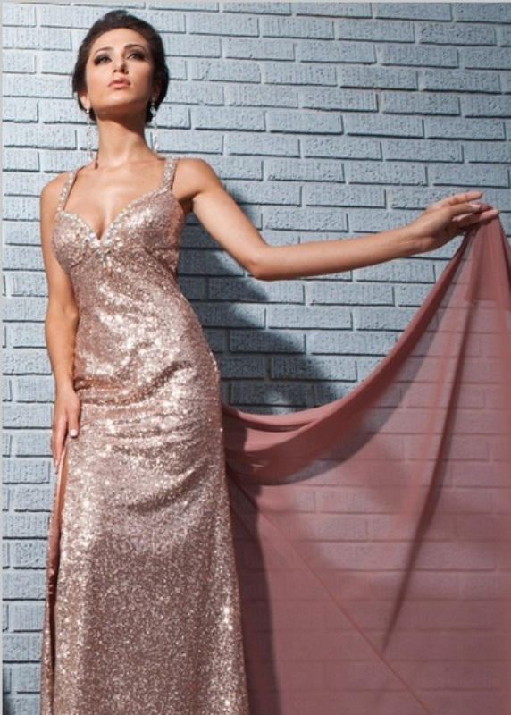 a glam rose gold maxi sheath dress with thick straps for a bridesmaid or even a bride