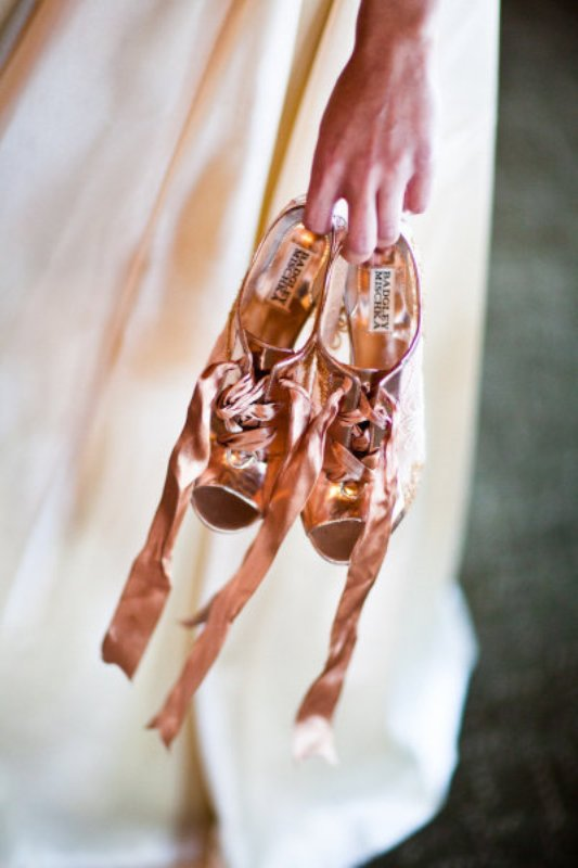 shiny rose gold peep toe booties with laces are a bright and cool idea for a modern glam bride
