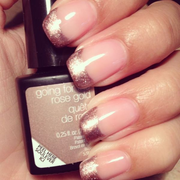 a French manicure with rose gold tips is a very romantic and glam idea for a modern glam bride