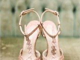 refined vintage rose gold geometric shoes for an art deco bridal look – such a pair will help you sparkle all over