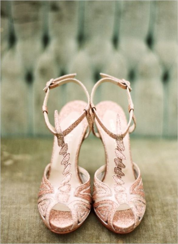 refined vintage rose gold geometric shoes for an art deco bridal look   such a pair will help you sparkle all over