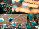 turquoise and teal paper pompoms can be used not only to hang them over the space but also to hang them on branches for a centerpiece