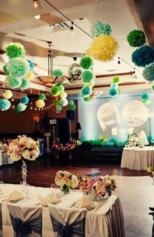 picture of hanging paper pompoms decor ideas for your wedding. Black Bedroom Furniture Sets. Home Design Ideas