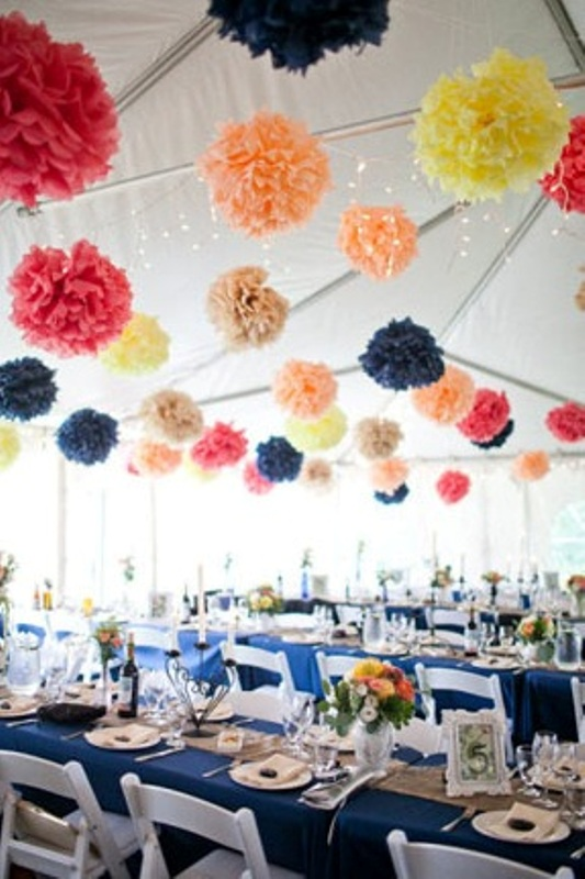 Picture of hanging paper pompoms decor ideas for your wedding for 26 january decoration
