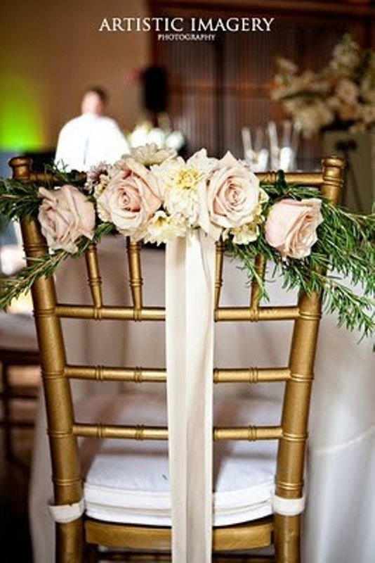 picture of ideas of chair decor with pretty floral swags