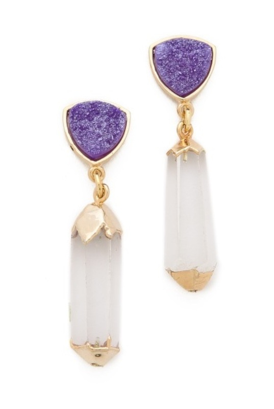 statement earrings with purple druzy parts and hanging crystals with gilded touches for the bride