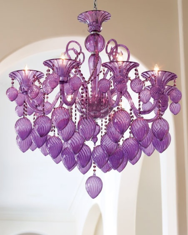 a bold lilac glass chandelier is a nice decor idea for a lilac and lavender colored wedding