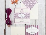 elegant lilac and white wedding stationery is a stylish idea, with stripe and floral patterns