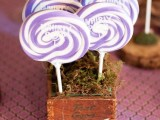 lilac swirl lollipops are cool and fun wedding favors or just sweets for your dessert table