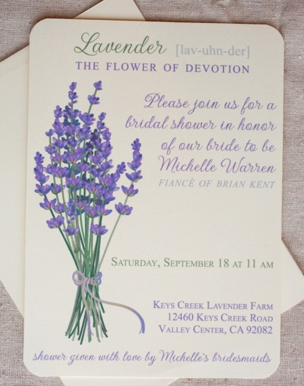 wedding invitations with lilac painted are super romantic and beautiful