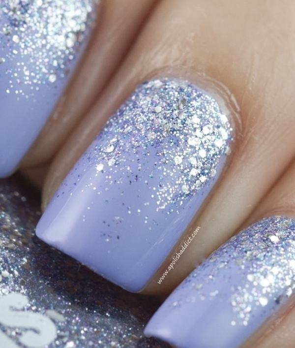 lilac nails with silver sequins are very chic and romantic for any bride