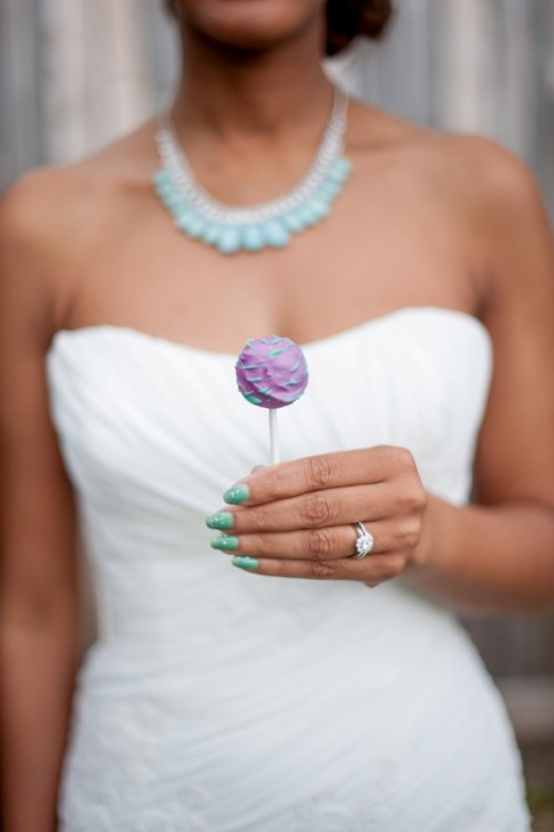 mint nails, a purple and mint cake pop for a cool wedding shot - looks so bright and so summer-like