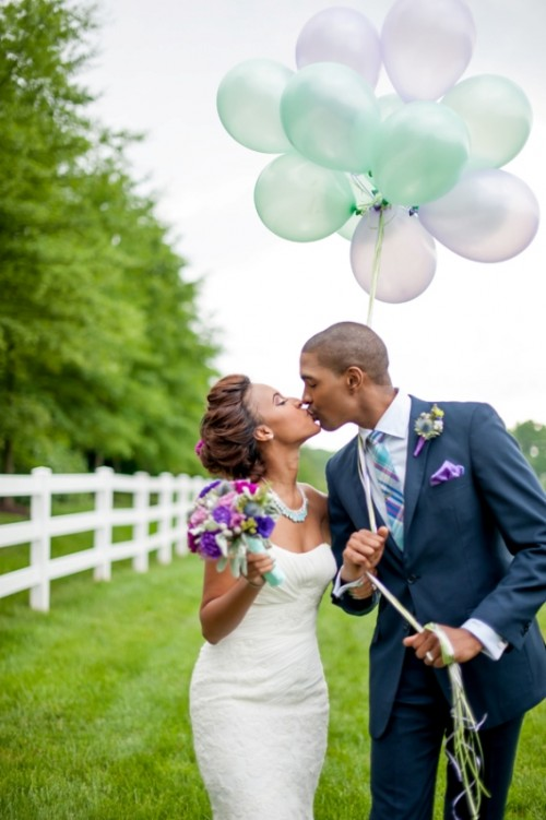 mint and purple balloons, a mint and purple wedding bouquet and groom's look styling for a bright summer wedding