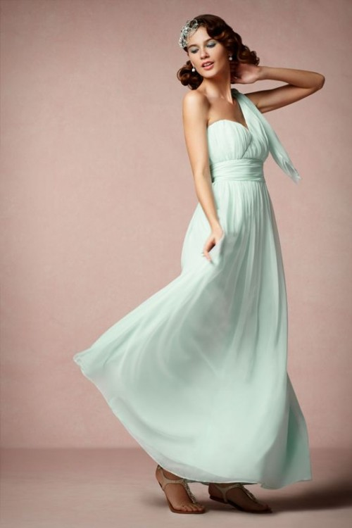 a strapless draped mint maxi dress and a matching scarf for a cool and fresh spring or summer bridesmaid look