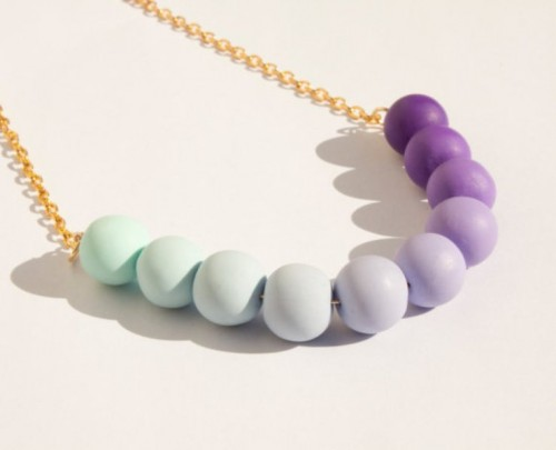 a creative mint and purple ombre necklace for a bride or bridesmaid is a nice idea for a bright touch