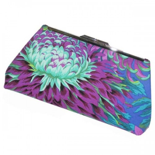 a bold purple, mint and blue wedding clutch is a nice option for a bridesmaid or bride