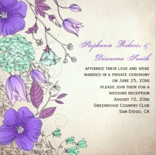 a bright purple and mint floral print wedding invitation is a nice option for a sping or summer wedding