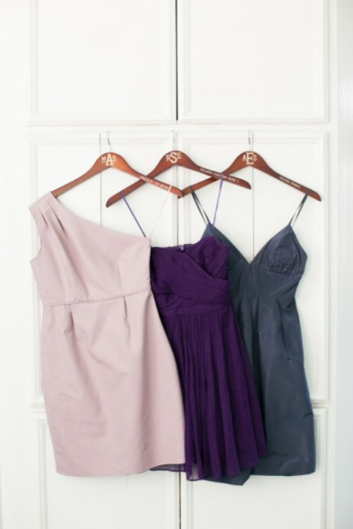 a purple, blush and grey mini dresses for bridesmaids, include a mint one and here you go