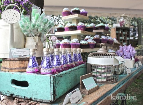 a purple, lavender and mint wedding candy bar is super bright, fun and cool, with lots of amazing sweets