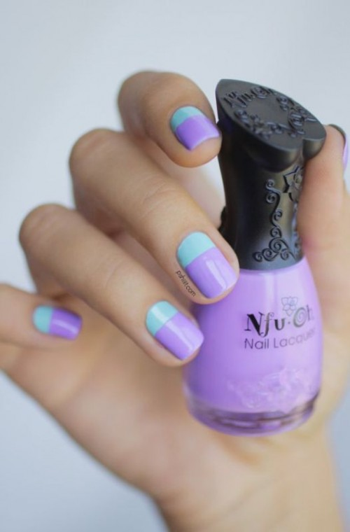 a stunning mint and purple color block wedding manicure is a bold touch to the bridal or bridesmaid look
